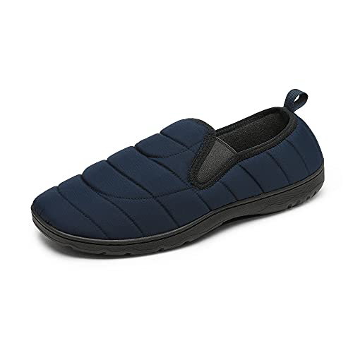 DREAM PAIRS Men Slippers, Indoor Outdoor Bedroom Water-Resistant House Shoes - Cozy Soft Memory Foam Insole - Lightweight TPR Sole - Mens Winter Warm Home Slipper, Size 13-14, Dark/Blue, Dsl217m