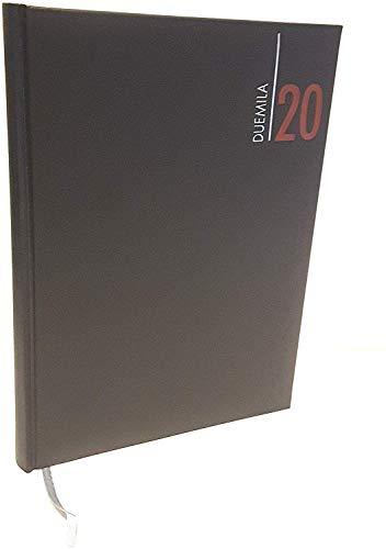 Agenda 2020 diaria 15 x 21 cm A5 a cuadros piel sintética negra oficina peluquería restaurante