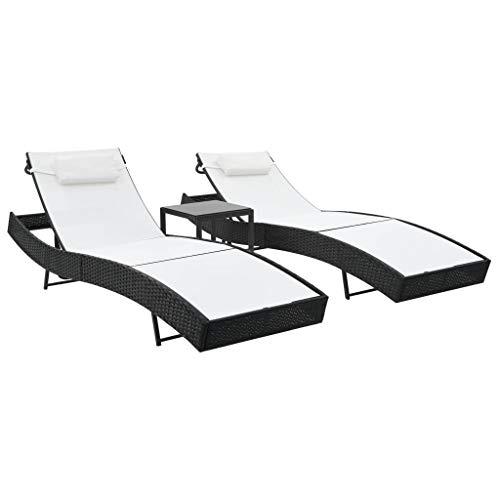 vidaXL 2X Chaise Longue Table Résine Tressée Noir Blanc Bain de Soleil Tansat