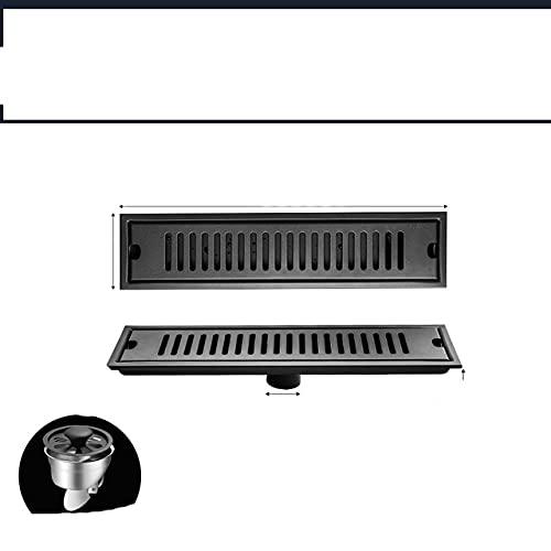 OBOYGANGNQE Rectángulo 304 de Acero Inoxidable Negro Pintura para Hornear baño alcantarillado Ducha Piso desagües Longitud 20-50 cm-20x10 cm Medio