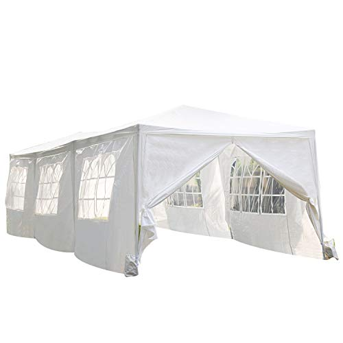 10'x30' White Outdoor Gazebo Canopy Tent Canopy Wedding Party Tent Waterproof Camping Gazebo BBQ Shelter Pavilion 8 Removable Walls -8