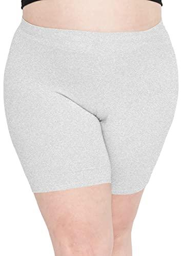Stretch is Comfort Women's Cotton Plus Size Bike Shorts Heather Gray 2XL