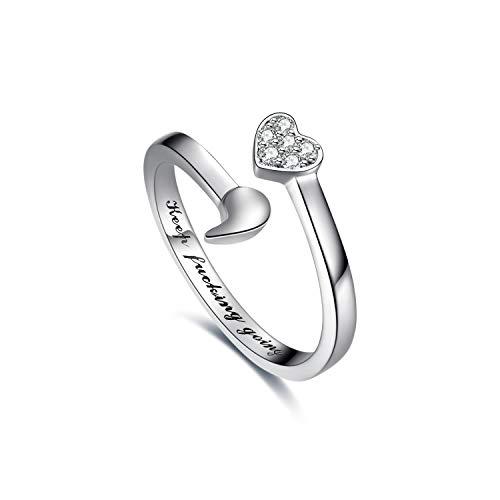925 Sterling Silber Ring weiter gehen Semikolon Ring inspirierende Geschenke für Frauen (54 (17.2))