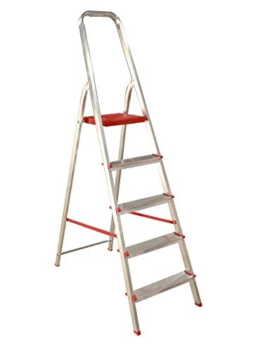 Escalera Plegable 5 peldaños de Aluminio, Escalera de Tijera Resistente y Ligera, Antideslizante, Uso domestico, soporta hasta 150 kg