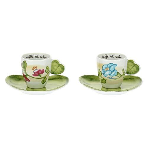 THUN ® - Set 2 Tazzine caffè - Linea Cerimonia fantasticacon Piattini a Forma di Foglia - Porcellana - 110 ml - ø 6x8,7 cm