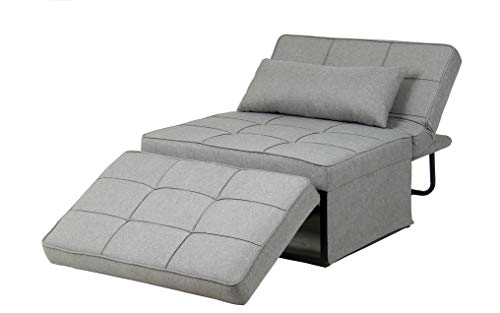 Ainfox Folding Ottoman Sleeper Bed, 4 in 1 Multi-Use Guest Bed Full Padded Lounge Couch Bed Convertible Single Sofa Chair (Light Grey)