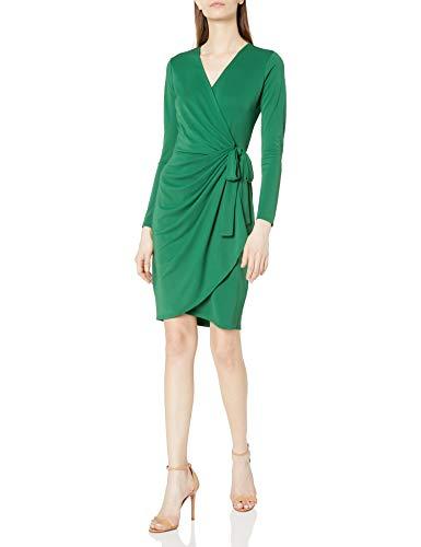 Lark & Ro Women's Classic Long Sleeve Wrap Dress, Emerald, Large