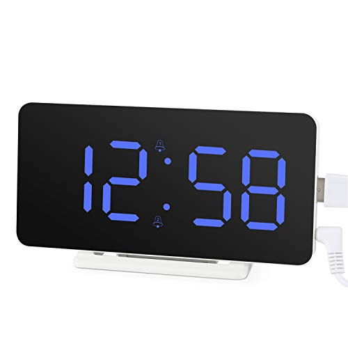 Edillas Digital Alarm Clock,Big Led Display,Mirror Surface Clock With...