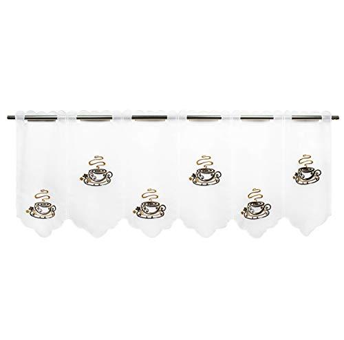 Delindo Lifestyle® Scheibengardine Kaffee für Küche und Wohnzimmer, Moderne weiße Motiv Kurzgardine mit Schlaufen, 45x115 cm, transparente Bistrogardine