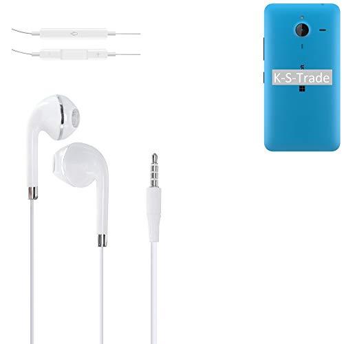 K-S-Trade Kopfhörer Für Microsoft Lumia 640 XL LTE Dual SIM Mit Mikrofon U Lautstärkeregler Weiß 3,5mm Klinke Headphones Ohrstöpsel Ohrstecker Stereo Headset Universell Verwendbar