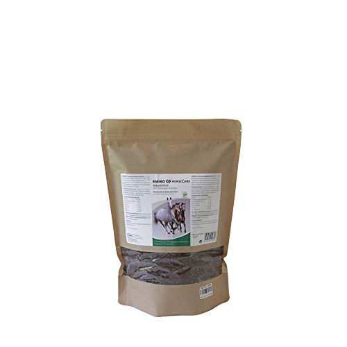 Emiko HorseCare Bokashi Plus, 1,0 kg, schrotartiges Ergänzungsfuttermittel mit Kohle und Kräutern zur kurzzeitigen Anwendung bei erhöhter Darmbelastung