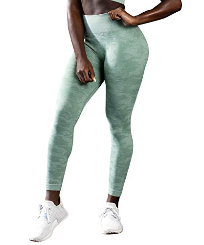Yaavii Damen Sport Leggings Lange Blickdicht Yogahose Sporthose Streetwear Sporttight mit Hohe Taille Bauchkontrolle Camo Grün L
