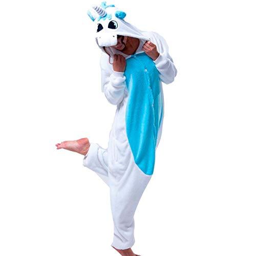 Fantasia Macacão de Unicórnio Kigurumi Adulto Branco e Azul Com Gorro GG 50-52