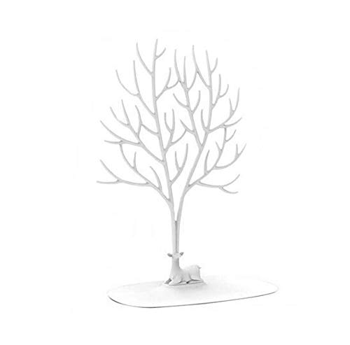Porte-Collier Support De Bracelet/Organisateur De Bijoux/Arbre À Bijoux Ornement De Bois De Cerf Arbre Design Large25 * 15 * 41,5 Cm (Blanc)