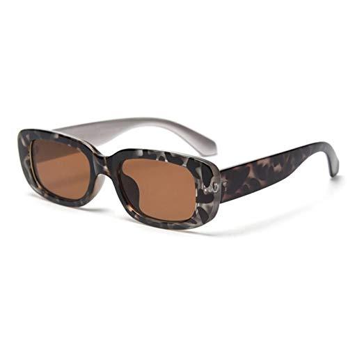 ZZOW Ins Popular Fashion Small Rectangle Gafas De Sol De Mujer Vintage Men Trending Wine Red Leopard Gafas De Sol Sombras