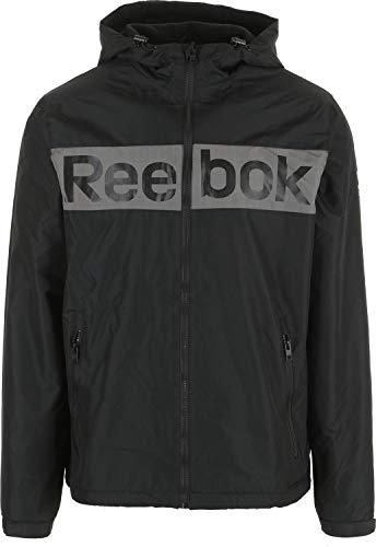 Reebok Logo 2 Fleece Lined Windbreaker Jacket Mens Sz XL Black