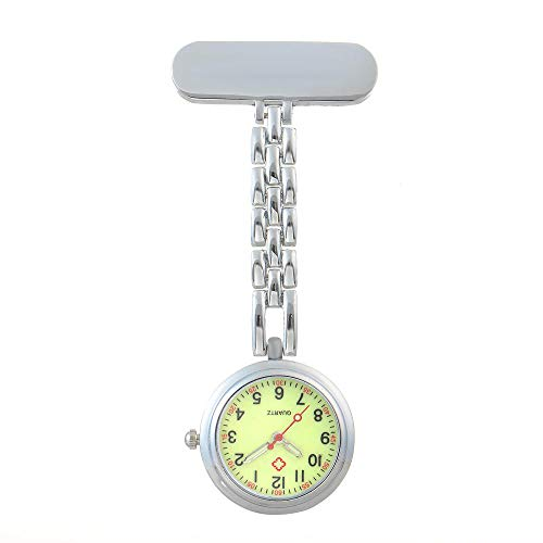 nohbi Reloj de Bolsillo Enfermera Prendedor Broche,Reloj de Bolsillo médico de Enfermera Colgante, Lindo Cofre de Examen Impermeable de Moda-Luminoso A_L,Reloj de Bolsillo con Clip