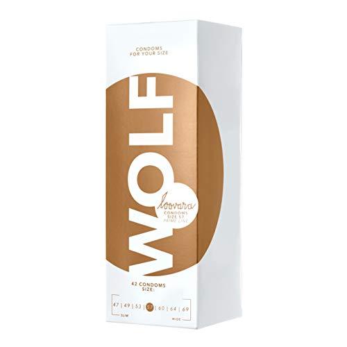 Loovara 42 Kondome in individuellen Größen - Kondomgröße 57 - Size Wolf - Kondome dünn aus Fair Rubber - Für mehr Fun & Feeling beim Sex - Vegane Präservative im 42er Pack