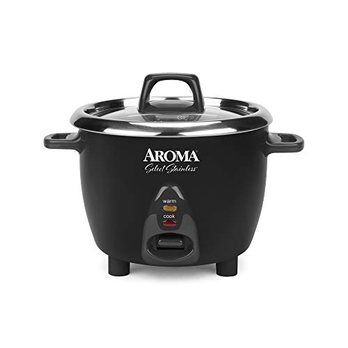 Aroma Housewares Select Stainless Rice Cooker & Warmer with Uncoated Inner Pot, 6-Cup(cooked)/ 1.2Qt, ARC-753SGB, Black