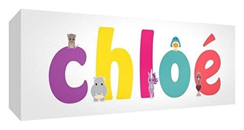 Little Helper Toile Boîte Galerie Enveloppé avec Panneau avant Style Illustratif Coloré avec le Nom de Jeune Fille Chloé 15 x 42 x 3 cm Petite