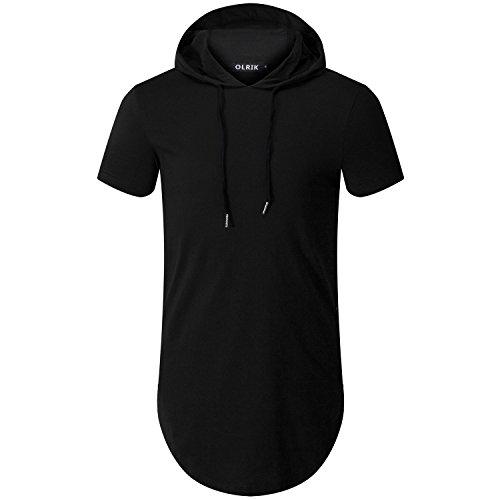 OLRIK Men's Hipster Hip Hop Short Sleeve T-Shirt with Zipper Trim Black S