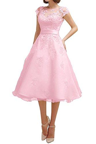Dresses Onlie Tüll A-Linie Kurzarm Hochzeitskleider Wadenkurz mit Spitze Applikationen Brautkleid-Rosa-32