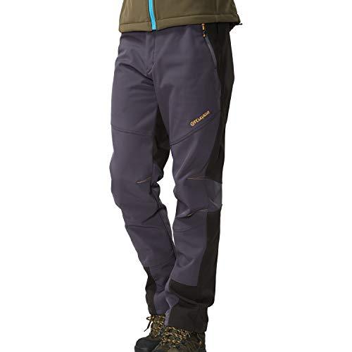 FLYGAGA Pantalon Softshell pour homme Coupe-vent imperméable doublé polaire Pantalon de trekking, camping, randonnée, automne, hiver Trail Pantalon Gris S