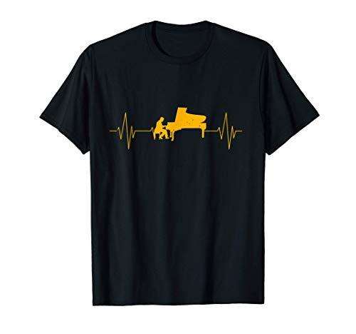 Piano à queue pianiste cadeau battement de coeur musicien T-Shirt