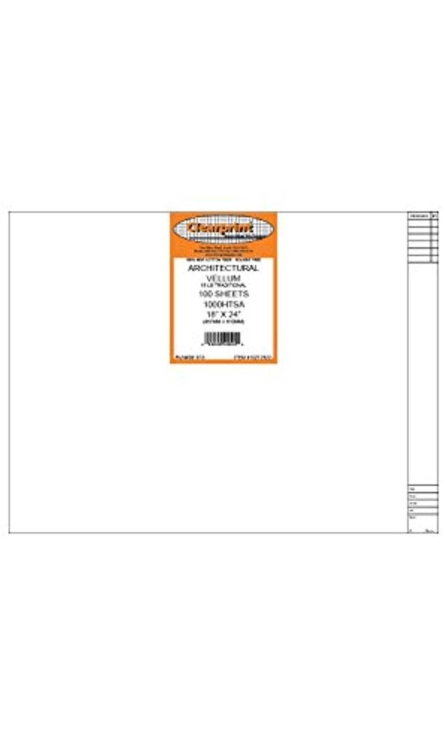Clearprint 1000H Design Vellum Sheets with Architect Title Block, 16 Lb., 100% Cotton, 18 x 24 Inches, 100 Sheets Per Pack, 1 Each (10212522)