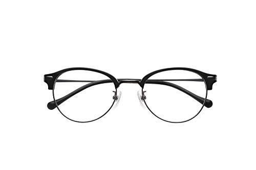 ピントグラス シニアグラス(老眼鏡1本で度数 +0.0D 〜 +1.75Dの累進設計) クラシカルなラウンドブロータイプ マットブラック