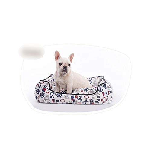 Pet Dog Bed All Seasons Dog Baskets Nest Warm Kennel for Cat Puppy Small Large Dogs Sofa Kennel Pet Cushion,Sea Anchor,80x60x20cm