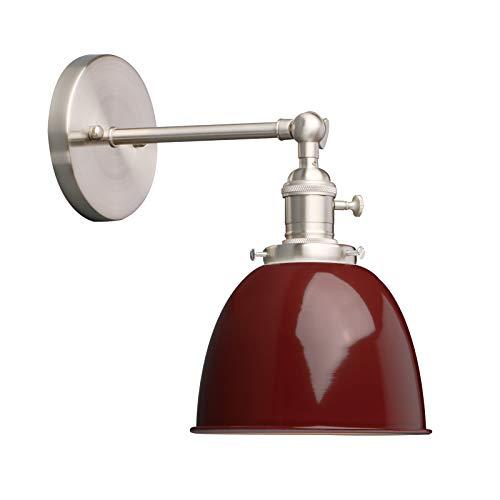 Phansthy innen Modernes Deckenhalbkreis mini mit Metall-Schirm Wandbeleuchtung Wandleuchten Vintage Industrie Loft-Wandlampen Antik Deko Design Wandbeleuchtung Küchenwandleuchte (Rot)