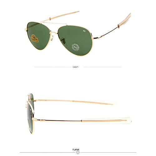 JINGRU Army Military MacArthur Aviation Style AO General Gafas de Sol AmericanOptical Glass Hombres Gafas de Sol