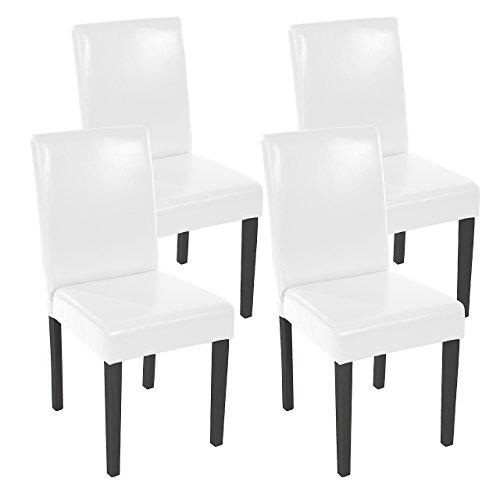 Mendler 4X Esszimmerstuhl Stuhl Küchenstuhl Littau ~ Leder, weiß dunkle Beine