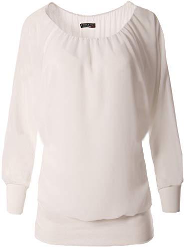 FASHION YOU WANT Damen Oversize Oberteile Tshirt/Pullover Uni Übergrößen Shirt Langarm (weiß, 48/50)