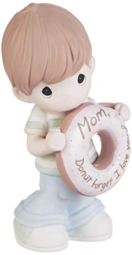 Precious Moments 193014 Mom Forget I Love You Boy with Donut Bisque Porcelain Figurine, One Size, Multicolor
