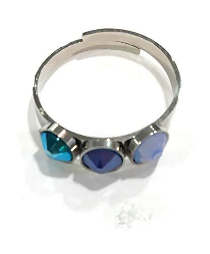 Bohm Paris – Anillo ajustable de acero inoxidable plateado y cristales de Swarovski auténticos, 3 piedras de color azul.