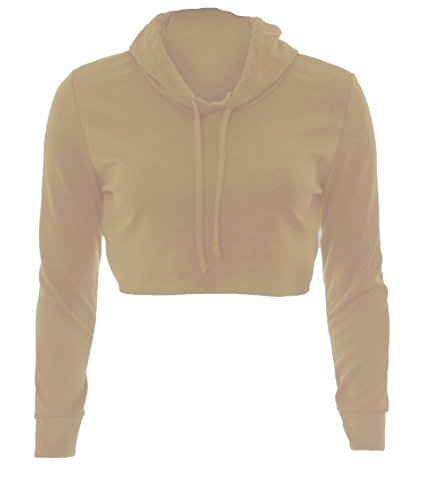 Effen naveltruitje voor dames - hoodie/trui/sweatshirt - kort/onafgewerkte zoom