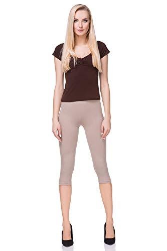 FUTURO FASHION - Leggings mit 3/4-Länge - Baumwolle - extra bequem - Übergrößen - Beige - 42 (XL)