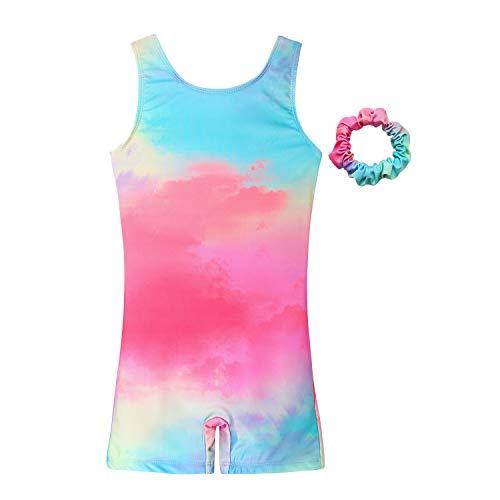 MODAFANS Leotards for Girls Gymnastics with Shorts Dance Rainbow Leopard Matching Hair Scrunchie for 6-7T, Tie Dye