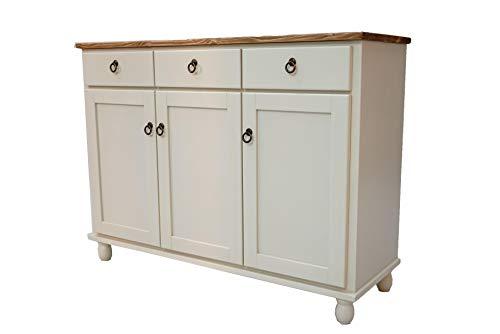 キッチンカウンターテーブル キャビネット 食器棚 キッチン下収納 幅114cm 木製 パイン材 無垢 北欧 フレンチカントリー家具 アンティーク調 - ホワイト
