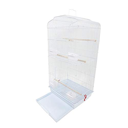 """best-good Kingsea 37"""" Bird Parrot Cage Canary Parakeet Cockatiel Lovebird Finch Bird Cage with Wood Perches & Food Cups White(US Shipping)"""