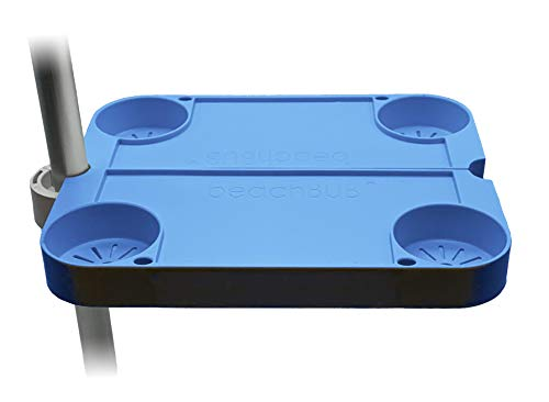 BEACHBUB Clip-On Clip-Off Beach Umbrella Tray Table System with 4