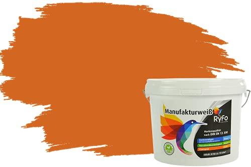 RyFo Colors Bunte Wandfarbe Manufakturweiß Aprikose 3l - weitere Orange Farbtöne und Größen erhältlich, Deckkraft Klasse 1, Nassabrieb Klasse 1