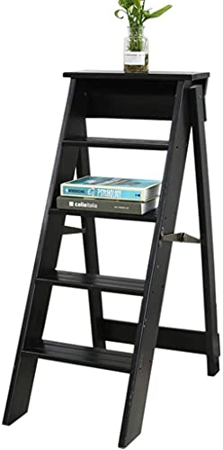 KMILE Taburetes de escalones Paso de niño |Ladder de estanterías Plegables |Estante de Almacenamiento |Moda de Madera Maciza Plegable Stepladder/Escalera con 5 Pasos para el hogar, B (Color : C)