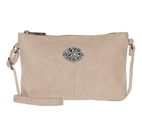 Trachtentasche Dirndltasche kleine Umhängetasche Kunst-Leder beige