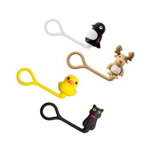 Bone Collection Style Q Cord Tie (B) かわいい ケーブルマネージャー 連結可能 コードマネージャー/ヘラジカ(ブラウン) ラバーダック(イエロー) 猫(ブラック) ペンギン(ブラック)