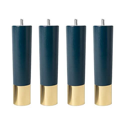 4 patas de madera de fresno maciza con tapas de metal, para muebles, de Natural Goods Berlín, en muchos tamaños