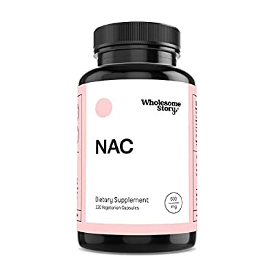 NAC (N-Acetyl-L-Cysteine) by Wholesome Story | 120 Veggie Caps | 600mg | Amino Acid | Increases Glutathione, a Natural Antioxidant | Support for Liver, Lung, Immune System, Fertility, PCOS