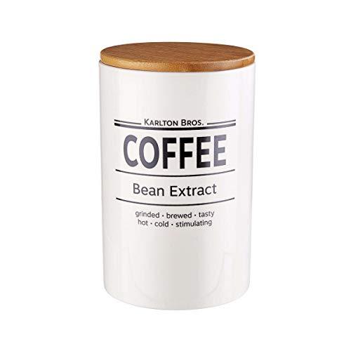 BUTLERS Karlton Bros. Kaffee Dose Ø 11,1 cm in Weiß - Moderne Vorratsdose aus Porzellan - Kaffeepulver Aufbewahrungsdose